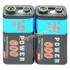 2pcs durevole 9V 9 Volt 600mAh Power Cell Ni-MH ricaricabili blocco PPS