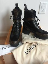 Louis Vuitton Black & Monogram Laureate Platform Desert Boot sz 38