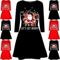 Womens Christmas Santa Rudolph Beer Ladies Long Sleeve Swing Flared Mini Dress