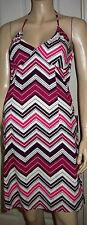 H & M Diagonal Stripe Halterneck Purple Multi 100% Cotton Summer Dress Size 8