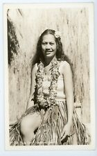 Pretty Hula Dancer Girl   -  Hawaii Vintage real photo postcard RPPC