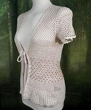 Betty Barclay Cream Crochet Beaded Top  100% Cotton  Size S  Boho