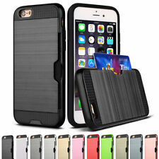 Hybrid Tough Shockproof Card Slot Holder Case Cover For iPhone 6S 7 8 Plus XR XS