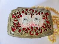 Pink Roses Hollywood Regency Gold Ormolu Trinket Box, Vintage Metal Jewelry Box