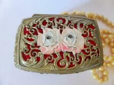 Pink Roses Hollywood Regency Gold Ormolu Trinket Box, Vintage Metal Jewelry Box