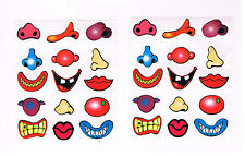 30 x fun mouth & nose stickers - assorted designs , kids crafts , party favours