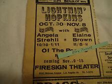 Lightnin' Hopkins 1970 concert ad Ash Grove LOS ANGELES