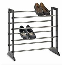 4-Tier Expandable Shoe Rack in Mahogany, Storage Shelf Space Closet Organizer