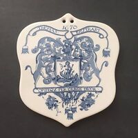 Vintage Coat of Arms Wall Hanging Tile Trivet Thomas Favtrart Apothecary Shield