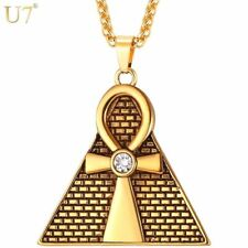 Gold Plated Egyptian Ankh Key Of Life Cross Pyramid Pendant Amulet Necklace No 2