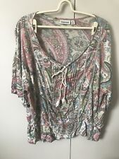 Sussan Blouse Top SiZe Xl 14-16 Beige Blush Pink Green Tribal Paisley Crotchet