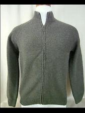 EMOZIONI UOMO Italy Khaki Wool Blend Full Zip Cardigan Sweater M