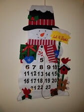 Advent Calendar Cloth Snowman Let It Snow with Wood Candy Cane Marker 0942 129