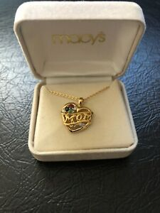 MACYS Gold Plate On Sterling Silver Mom Mother's Day Heart Charm Necklace $50