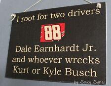 Dale Earnhardt Jr wrecks Kurt & Kyle Busch Rare Driver Sign Racing Bar