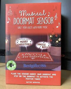 CHRISTMAS MUSICAL DOORMAT SENSOR GREET YOUR GUESTS WITH MERRY JINGLE BELLS MUSIC