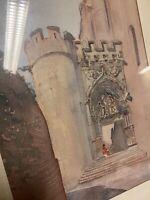 Cathédrale d Albi Tarn Aquarelle XIXeme Peinture Monument Ancien