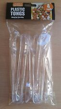 4 Pack Clear Plastic Tongs Ideal for Serving Disposable BBQ Buffet Party Event