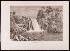 1880 - Gravure : Chute du Caïmito (Canal du Panama, Darien, Cascade)