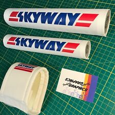 More details for skyway bmx padset in white - retro 1980s old school reproduction pads
