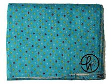 Blue Kantha Quilt Indian Cotton Handmade Bedspread King Size Ralli Bedding Throw