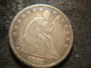 1861-O VF XF Seated Liberty Half Dollar Confederate Issue T2X