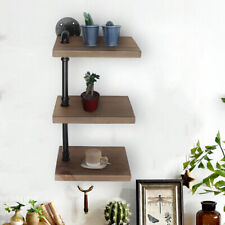UK 3 Tiers Industrial Wall Mounted Iron Pipe Shelf Rustic Wooden Bookshelf