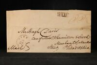 Pennsylvania: Pittsburgh 1818 Stampless Cover, Fancy Boxed PAID, 55-1/2c Rate