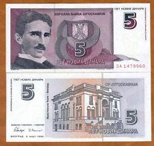 Yugoslavia, 5 Novih Dinara, 1994, P-148, UNC > Tesla, ЗА = ZA Replacement