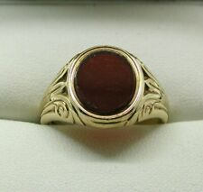 1960's Gents Superb Quality Heavy 9 Carat Gold And Carnelian Agate Signet Ring
