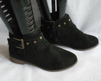 H&M WOMENS  BLACK ZIP FAUX SUEDE BLOCK LOW HEEL ANKLE BOOTS SIZE:3/35(WB880)