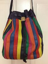 I Magnin bucket vintage handbag rainbow color draw string cross body H5