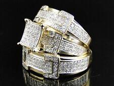 diamond trio set his hers matching engagement ring wedding band 10k white gold - Trio Wedding Ring Sets