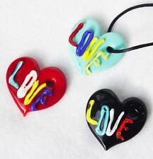 Murano Glass Heart Love Pendant Handmade Necklace Red Blue Black
