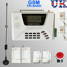 WIRELESS LCD SECURITY DUAL GSM SIM/ PSTN AUTODIAL HOUSE BURGLAR INTRUDER ALARM