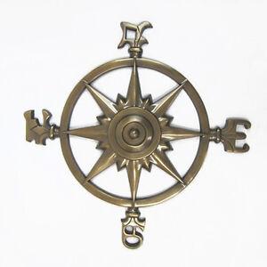 "Large Aluminum Compass Rose Windrose Brass Finish 23"" Nautical Wall Decor New"