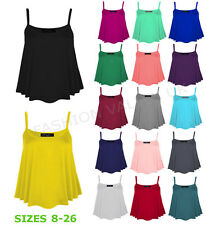 WOMENS PLAIN FLARED SWING VEST SLEEVELESS TOP STRAPPY CAMI LADIES PLUS SIZE 8-22