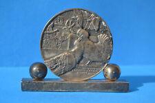 Médaille plaque socle Art Déco Jean VERNON 1930' 2 pigeons s'aimaient d'un am...