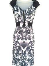 Karen Millen Graphic Print Dress Grey Black White Bodycon Pencil Sz 6 EU 34