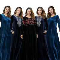 Muslim Women Embroidery Velvet Maxi Dress Dubai Abaya Islamic Kaftan Jilbab Robe
