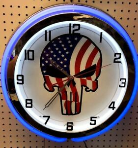 """19"""" American Punisher Red White & Blue Sign Double Neon Clock"""
