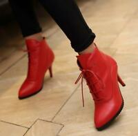 Women Ladies High Heel Lace Up High Top Ankle Boots Pointed Toe Shoes Pumps