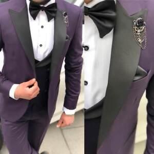 Designer Smoking Mariage Fête Lilas Costume pour Hommes Gilet Lot Cintré Slim