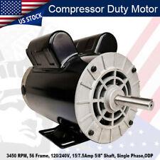 2hp Spl Compressor Duty Electric Motor 3450 Rpm 56 Frame 58 Shaft 120240v