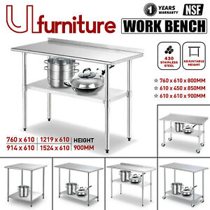 Stainless Steel Kitchen Workbench Commercial Cater Food Prep Table Wheel Baffle