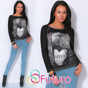Ladies Jumper With Sequins LOVE Print Top Tunic Sweat T-Shirt Sizes 8-14 FW61