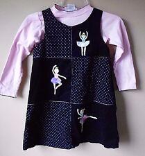 Sophie Rose Navy Corduroy dress with ballerinas   Size  6x Kids