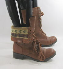 """TAN 1.5"""" low ankle Lace Rugged Military Combat Riding Winter sexy boot size  7"""