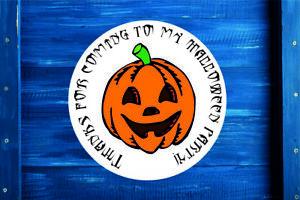Halloween pumpkin Round Sticker Label, Gift Bag, Seal, Sweet Cone in 4 Sizes