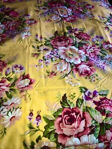 NOS RALPH LAUREN SOPHIE BROOKE QUEEN FLAT SHEET YELLOW FLORAL FRENCH COTTAGE